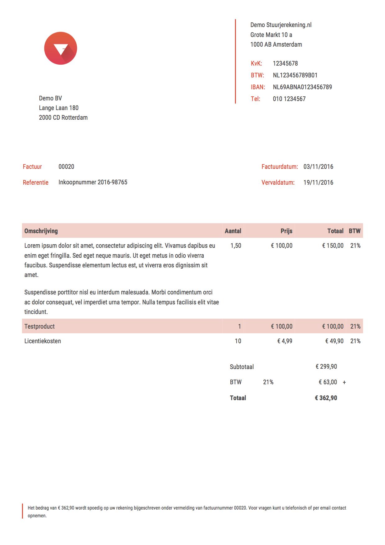 referentie op factuur voorbeelden   Stuurjerekening.nl